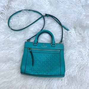 Kate Spade Medium Teal Cutouts Crossbody Purse